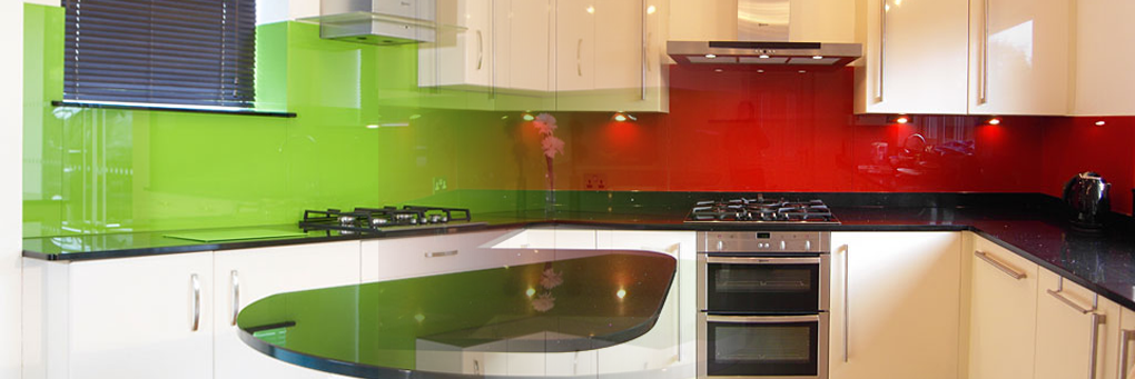 Colored glass splash backs